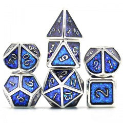 Photosensitive Blue Green w silver edges and font metal 7 Dice Set