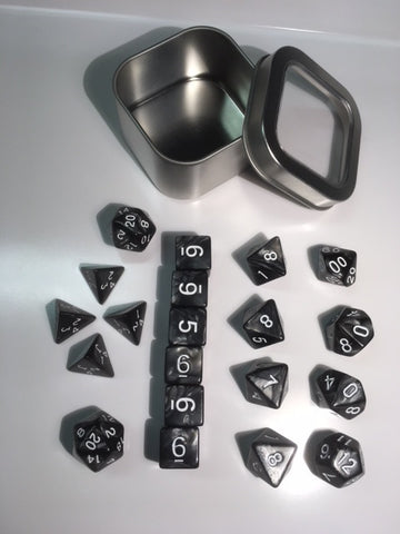 "Pearl Black with white font Set of 20 ""Pandy Dice"""