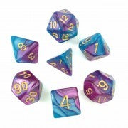 Blend Purple Teal with gold font Set of 7 Dice