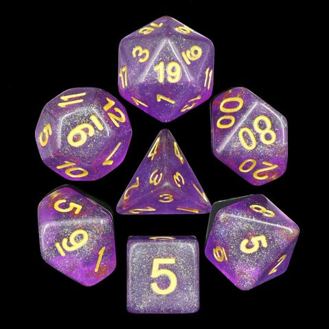 Iridecent Purple with gold font Set of 7 Dice