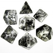 Nebula Black with white font Set of 7 Dice