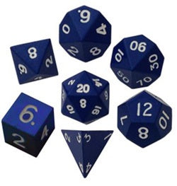 Painted Metal Blue with white font 7 Dice Set
