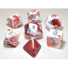 Lab Dice 3: Gemini® Polyhedral Red-White with blue font 7 Dice Set [CHX30022]