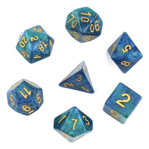 Galaxy Blue Green with gold font Set of 7 Dice