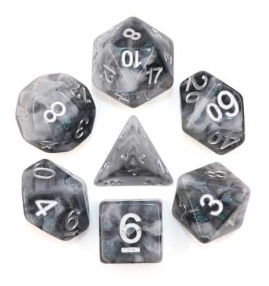 "Hollow ""Snowy Crystal"" with silver font Set of 7 Dice"