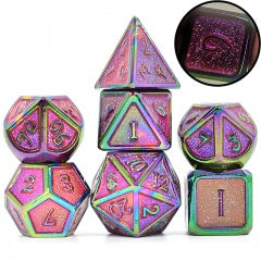 Glitter Purple w rainbow edges and font metal 7 Dice Set