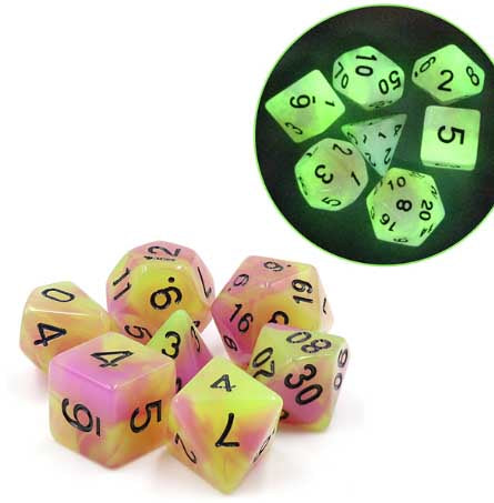 Glow in the Dark Purple+Green with black font Set of 7 Dice