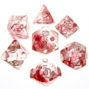 Nebula Red with silver font Set of 7 Dice
