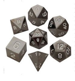 Metallic Sterling Gray with white font 7 Dice Set