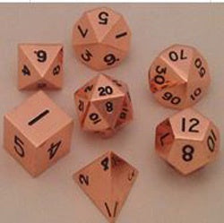 Metallic Shiny Copper with black font 7 Dice Set
