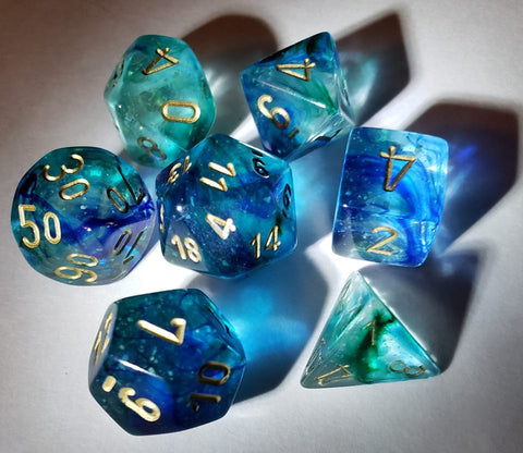 Nebula Oceanic with gold font 10D10 Dice Glow [CHX27356]