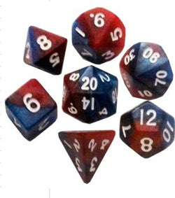 Red |Blue w white font Set of 7 Mini dice