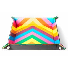 Rainbow Zig Zag w black leather backing folding Dice Tray