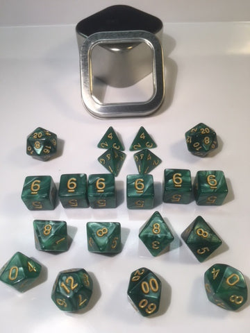 "Pearl Green with gold font Set of 20 ""Pandy Dice"""