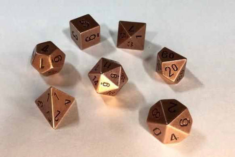 Metallic Antique Copper with black font 7 Dice Set Chessex [CHX27024]