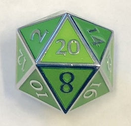 Giant Metal Green Enamel with silver edges + font 35mm D20