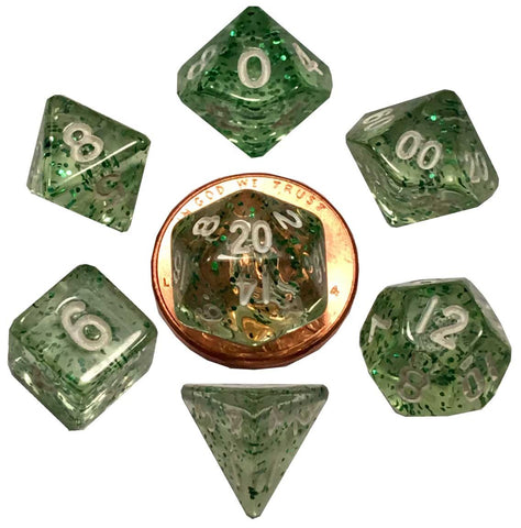 Ethereal Green w white font Set of 7 Mini Dice