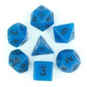 Glow in the Dark Blue with black font Set of 7 Dice