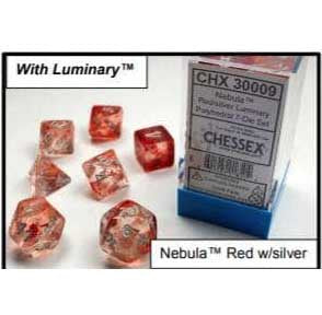 Nebula Red with silver font 10D10 Dice Glow [CHX27354]