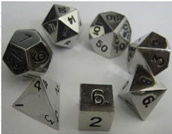 Metallic Shiny Silver with black font 7 Dice Set