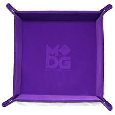 Purple Velvet w black leather backing folding Dice Tray