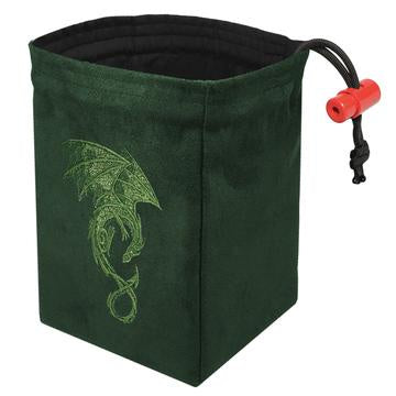 Red King Dice Bag: Suede Green Baroque Dragon