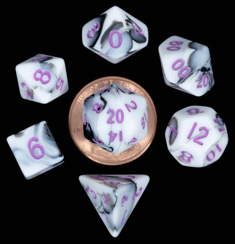 Marble White | Black w purple font Set of 7 Mini dice