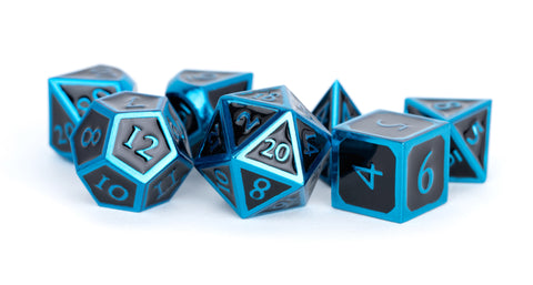 Metallic Black Enamel with Blue Edges and font 7 Dice Set
