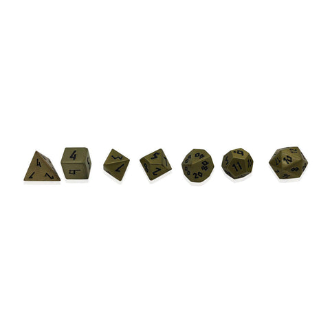 Pebbles: Antique Gold with black font Set of 7 Mini Metal Dice