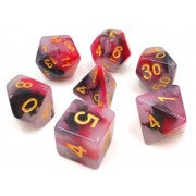 Jade Black+Red with gold font Set of 7 Dice