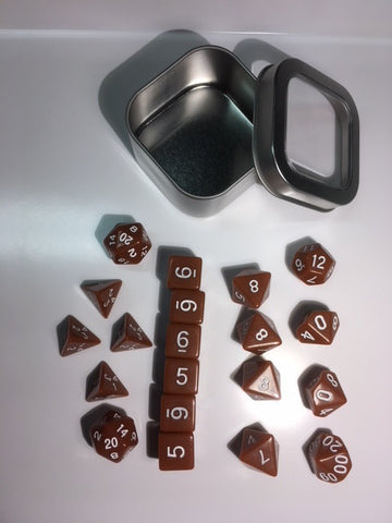 "Opaque Brown with white font Set of 20 ""Pandy Dice"""