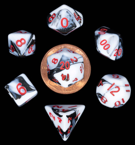 Marble White | Black w red font Set of 7 Mini dice