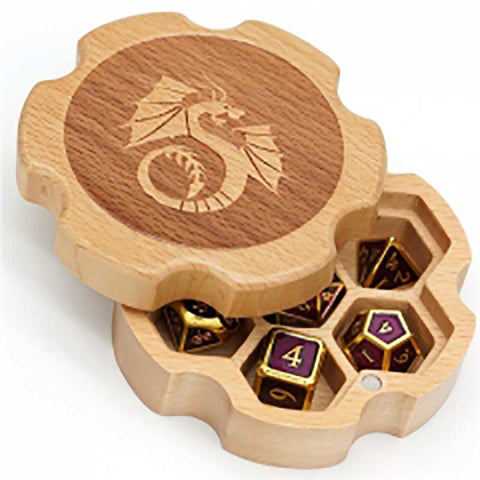 Beech Wood Hex Box with dragon for 1 set of dice