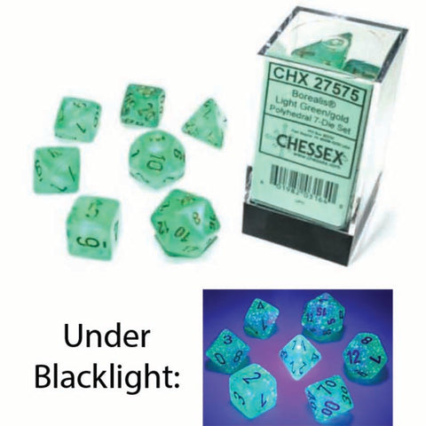 Borealis Polyhedral Light Green with gold font Luminary 7 Dice Set [CHX27575]