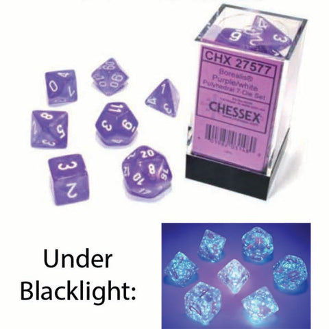 Borealis Polyhedral Purple with white font Luminary 7 Dice Set [CHX27577]