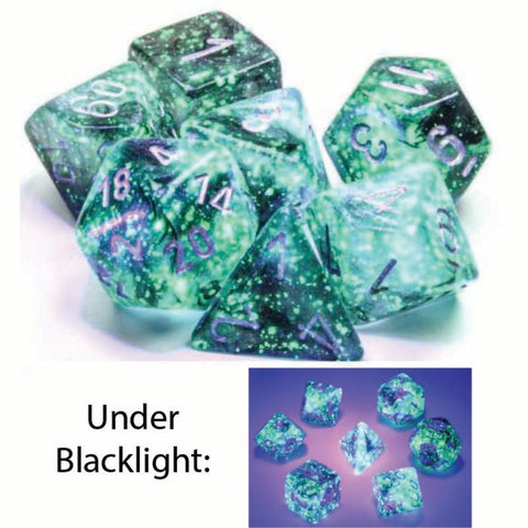 Borealis Polyhedral Light Smoke with silver font Luminary 7 Dice Set [CHX27578]