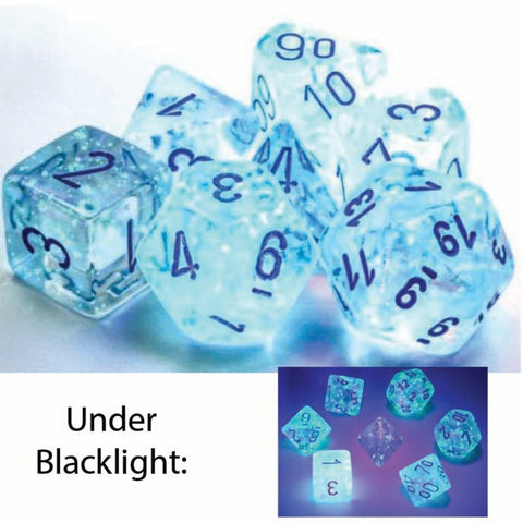 Borealis Polyhedral Icicle with light blue font Luminary 7 Dice Set [CHX27581]