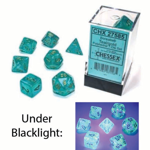 Borealis Polyhedral Teal with gold font Luminary 7 Dice Set [CHX27585]
