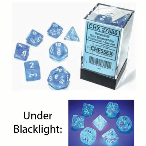 Borealis Polyhedral Sky Blue with white font Luminary 7 Dice Set [CHX27586]