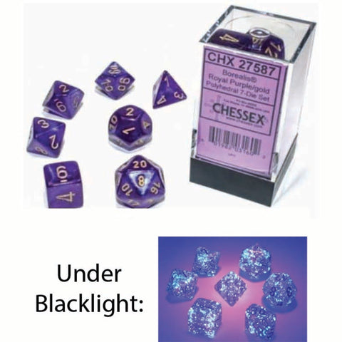 Borealis Polyhedral Royal Purple with gold font Luminary 7 Dice Set [CHX27587]