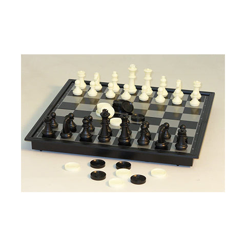 "CS 10"" Mag Chess & Checkers, Folding metal-plastic"