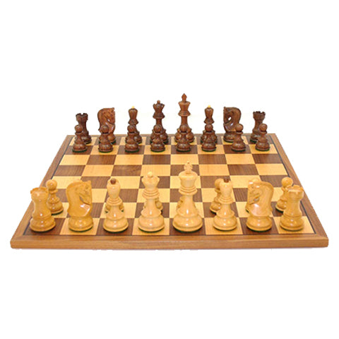Chess 37KLC-WC 2 in. Square Kikkerwood & Boxwood Lardy Classic Double Weighted Walnut & Maple Inlaid Veneer Board