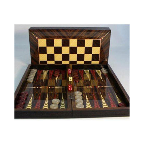 Croc Trim Backgammon Set W/ 19.5 inch Chess Board