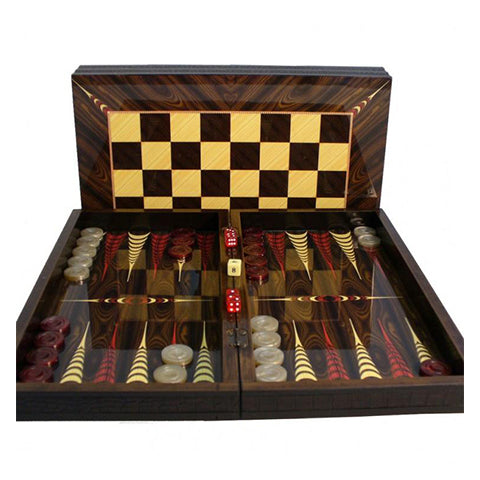 "Backgammon 16.5"" Elegance Brown Croc Trim Set W/ Chess Board"