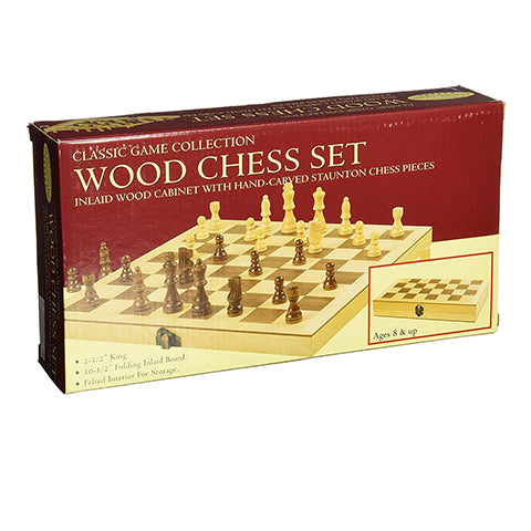 Folding Wood Chess Set With Hand-Carved Pieces 10.5 inch board