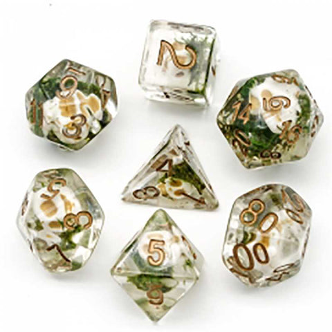 Halloween Skull Dice w copper font 7 Dice Set