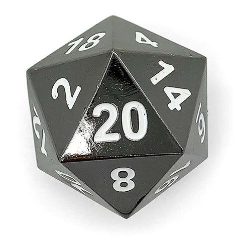 Boulder: Metal D20 - Black with white font