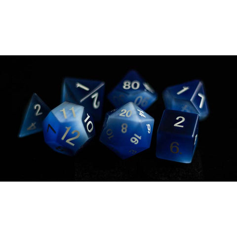 16mm Cat's Eye Frosted Blue set of 7 Gemstone dice