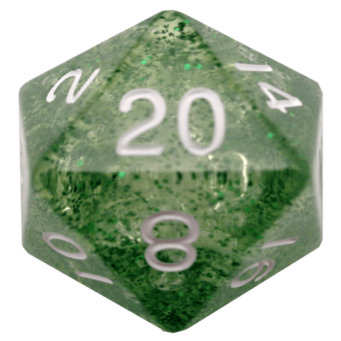 Ethereal Green w white font 35mm 1D20 die