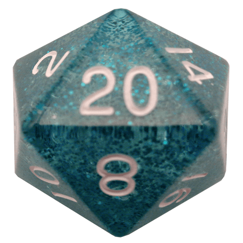Ethereal Light Blue w white font 35mm 1D20 die